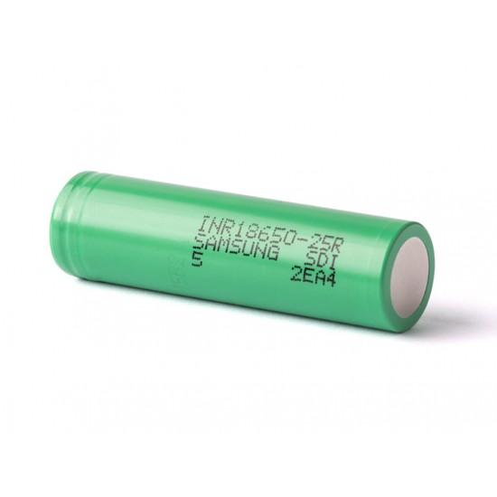 Samsung INR 18650 25R 2500mAh 20A Green Flat Top Battery